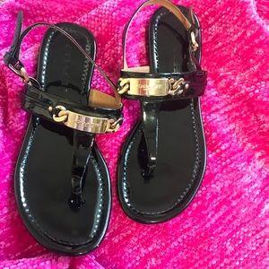 COACH,Black Caterine leather Sandal T Strap # 6